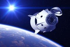 Kommersiellt rymdskepp i strålarna av solen royaltyfri illustrationer