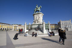 kommerslisbon portugal fyrkant royaltyfri fotografi