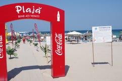 Kommerzialisierung auf dem Strand Stockbilder