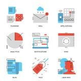 Kommerzielle Daten und Fernmeldeleitung Ikonen eingestellt stock abbildung