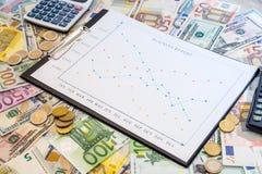 Kommerzielle Grafik mit Euro und Dollar, Münze Lizenzfreies Stockfoto