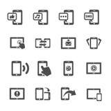 Kommunikation av den smarta uppsättningen för telefon- och minnestavlaapparatsymbol, vektor Arkivfoto