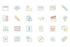 Kommunikation färgade översiktsvektorsymboler 6 Arkivbild