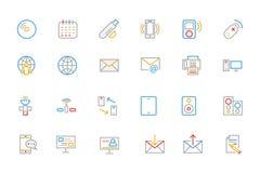 Kommunikation färgade översiktsvektorsymboler 7 Arkivfoton