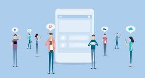 Kommunikation för affärsfolk på socialt nätverksbegrepp royaltyfri illustrationer