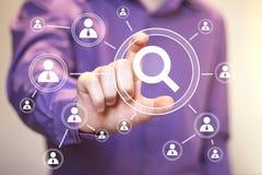 Kommunikation för loupe för sökandeförstoringsapparataffär online- Royaltyfri Fotografi