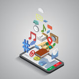 Kommunikation för mobiltelefonapplikationnavigering vektor illustrationer