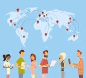 Kommunikation för nätverk för världskarta för folkpratstundDigital apparat social vektor illustrationer