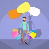 Kommunikation för utrymme för kopia för bubbla för shoppingmanpratstund royaltyfri illustrationer