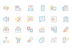 Kommunikation farbige Entwurfs-Vektor-Ikonen 3 Stockfotografie