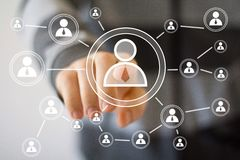 Kommunikation för manöverenhet för affärsmanhandlagknapp Arkivfoton