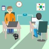 Kommunikation mellan folk på internet Plan illustration Royaltyfri Fotografi