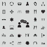 kommunikation mellan symbolen för två personer Detaljerad uppsättning av konversation- och kamratskapsymboler Högvärdigt kvalitet royaltyfri illustrationer
