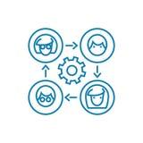 Kommunikation på det linjära symbolsbegreppet för internet Kommunikation på internetlinjen vektortecken, symbol, illustration stock illustrationer