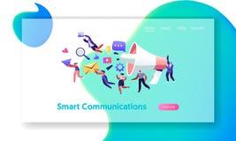 Kommunikation, PR-Agentur-Marketing-Team mit enormem Megaphon, wachsame Werbung und Social Media Öffentlichkeitsarbeiten und Ange vektor abbildung