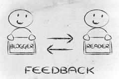 Kommunikation und Feedback zwischen Blogger und Leser Stockfotos