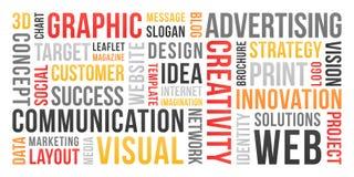 Kommunikation und Marketing - Wortwolke stock abbildung