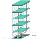 Kommunikationen eines mehrstöckigen Wohngebäudes vektor abbildung
