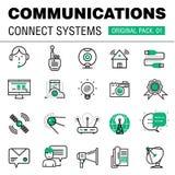 Kommunikationen förbinder packen för social teknologi Royaltyfri Foto