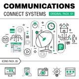 Kommunikationen förbinder packen för social teknologi Royaltyfri Fotografi