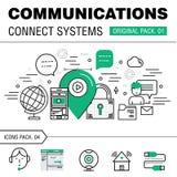 Kommunikationen förbinder packen för social teknologi Arkivbild