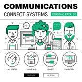 Kommunikationen förbinder packen för social teknologi Arkivfoton
