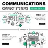 Kommunikationen förbinder packen för social teknologi Arkivbilder