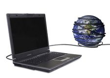Kommunikationen worlwide - Laptop Lizenzfreies Stockbild