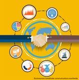 Kommunikationer för vektoraffärsmanhandskakning över hela världen Fotografering för Bildbyråer
