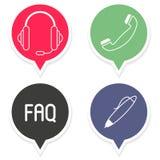 Kommunikations-Call-Center-Hilfszeichen, Vektor-Kennsatzfamilie Stockbild