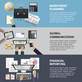 Kommunikations-, Investitions- und Berichtskonzept Stockfotos