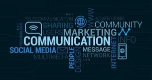 Kommunikations- och marknadsföringsetikettsmoln stock illustrationer