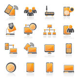 Kommunikations- och teknologiutrustningsymboler Royaltyfri Bild