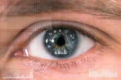 Kommunikations- und Geschäftsikonen in der menschlichen Retina Lizenzfreie Stockfotos