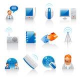 Kommunikations- und Internet-Ikonen Stockbild