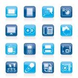 Kommunikations- und Verbindungstechnologieikonen Stockfotos