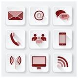 Kommunikations-Verbindungs-flache Ikonen eingestellt Stockfoto