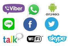 Kommunikationsapp-logoer stock illustrationer