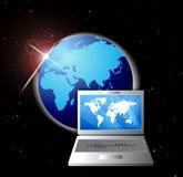 kommunikationsbärbar datornätverk online royaltyfri illustrationer