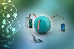 Kommunikationsbegrepp för globalt nätverk och internet Royaltyfria Bilder