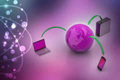 Kommunikationsbegrepp för globalt nätverk och internet Royaltyfri Bild
