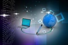 Kommunikationsbegrepp för globalt nätverk och internet Royaltyfri Foto