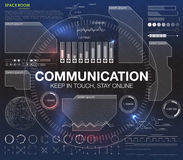 Kommunikationsbegrepp i HUD stil HUD för ` för ord`-kommunikation designen med anförande Absrtract vektorillustration Royaltyfria Foton