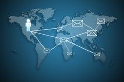 kommunikationsbegreppse-posten överför till världen Royaltyfri Foto