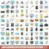 100 Kommunikationsberichtikonen eingestellt, flache Art Stockbild