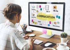 Kommunikationsdiskussion Team Work Ideas Concept Arkivfoto