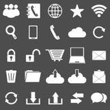 Kommunikationsikonen auf grauem Hintergrund Stockfoto