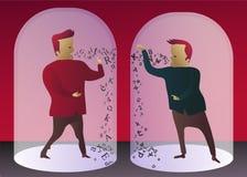Kommunikationssammanbrott: två män som försöker att meddela, kan inte förstå sig stock illustrationer