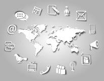 Kommunikationssymboler och värld Royaltyfri Bild