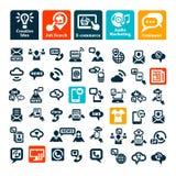 kommunikationssymboler ställde in rengöringsduk Arkivbild